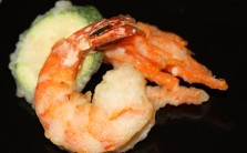 Tempura prawns, carrots and zucchini