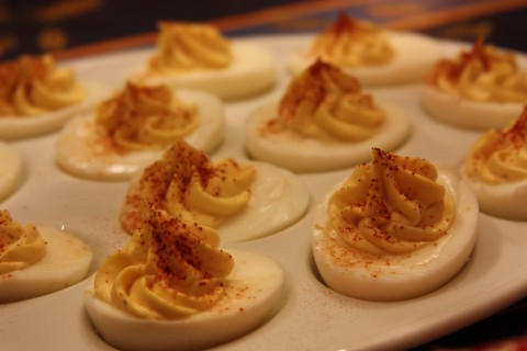 Deviled eggs are always the hit of the party.