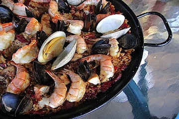 Grilled Paella with Shellfish, Chorizo and Chicken