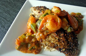 Blackened Catfish with Crawfish Etouffe