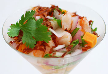 Sweet Potato and Tequila Shrimp Ceviche