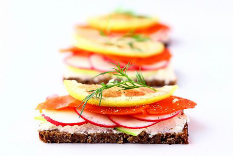 Smoked Salmon, Radish, Apple Sandwich (Smorrebrod)