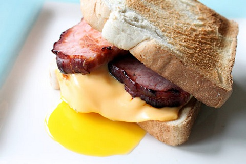 Canadian Bacon, Egg, and Cheese Sandwich