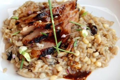 Miso-Glazed Pork Chop with Corn-Maitake Calrosotto