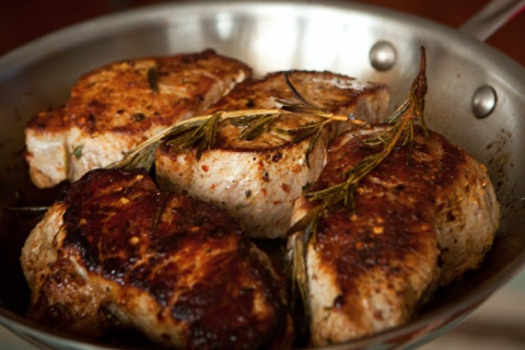Pan Seared Rosemary Pork Chops
