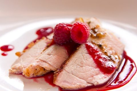 Sear Roast Pork with Plum & Raspberry Gastrique