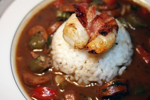 Spicy Andouille Gumbo with Bacon Wrapped Shrimp