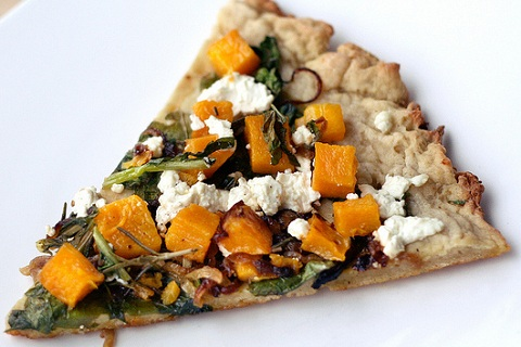 Butternut Squash, Arugala, and Goat Cheese Pizza