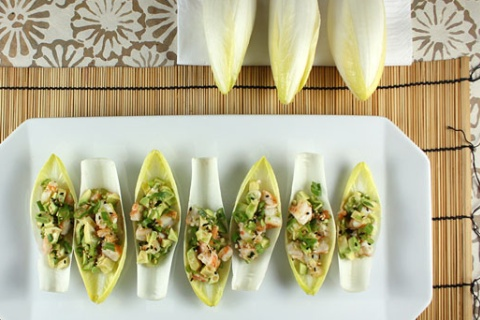 Sesame Shrimp and Avocado Salad on Endive Leaves