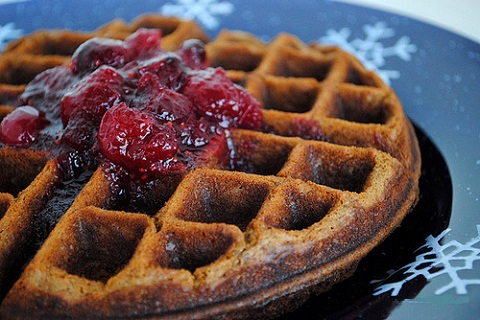 Gingerbread Waffles with Vanilla Cranberry Sauce