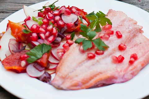 Pomegranate Infused Red Trout with Red Salad