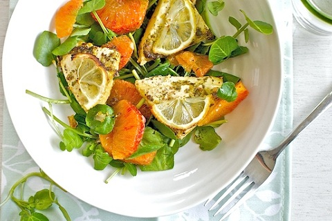 Baked Lemon Tofu Double Citrus Salad