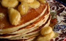 Banana Pancakes w/ Butter Rum Banana Maple Syrup