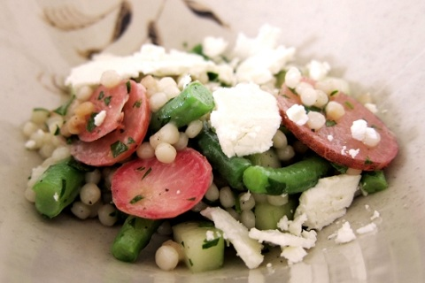 Couscous Salad with Pickled Radishes and Feta