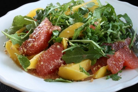 Baby Arugula, Grapefruit, Avocado, Mango and Cashew Gomasio Salad