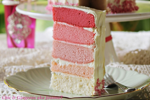 Pink Vanilla Rainbow Cake with Vanilla Buttercream