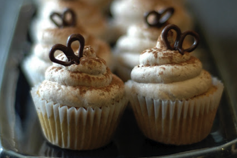 Mini Coffee Chiffon Cupcakes with Cocoa Whipped Cream