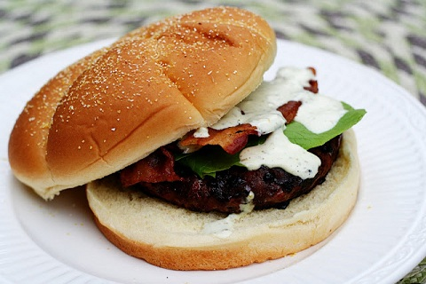 Bacon Burger with Jalapeno Cilantro Spread