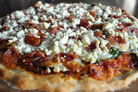 Bacon & Feta Pizza with Sun-dried Tomato Sauce