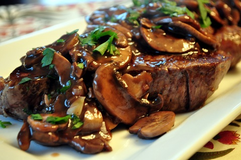 Beef Tenderloin with Mushroom and Red Wine Sauce
