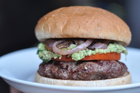 Guacamole Bison Burger with Grilled Onions