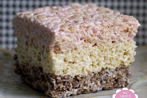 Neapolitan Rice Crispy Treats