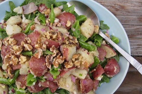 Potato Salad with Arugula and Snap Peas