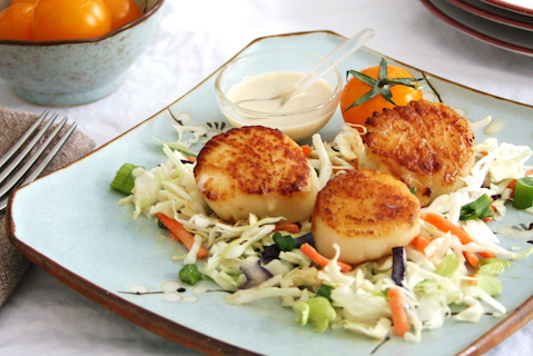 Seared Scallops with Lime infused Tahini