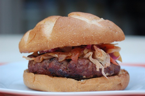 Smoked Gouda Bison Burgers with Warm Apple Slaw