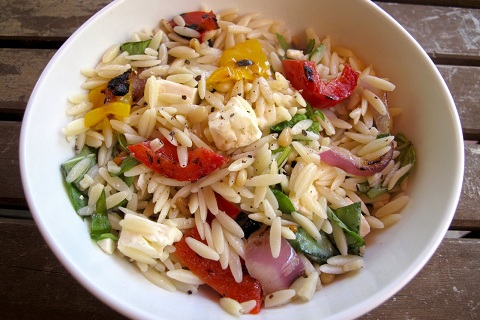 Greek Orzo Salad with Grilled Vegetables