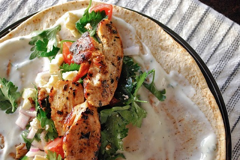 Healthy Chicken Kebabs with Yogurt Dressing