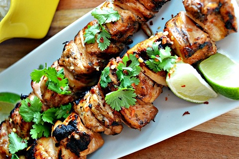Honey-Glazed Chicken, Sweet Potato, And Peach Skewers Recipes ...