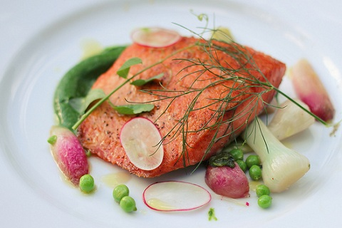 Spring Salmon with Green Garlic, Peas and Radish