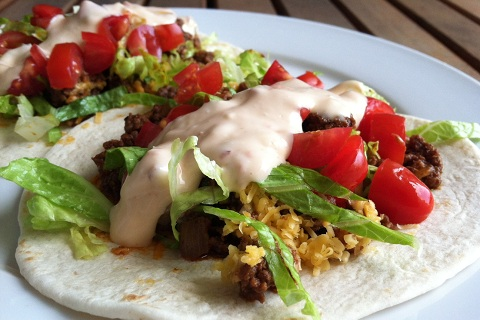 Sriracha Beef Tacos with Sriracha Blue Cheese Dressing
