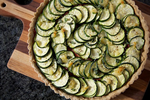 Tomato & Zucchini Tart with Garlic & Basil