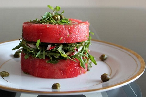 Watermelon, Radish and Rocket Leaves Salad