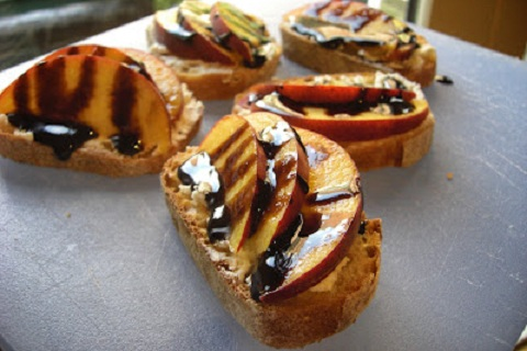 Balsamic Glazed Peach & Honey Goat Cheese Crostini