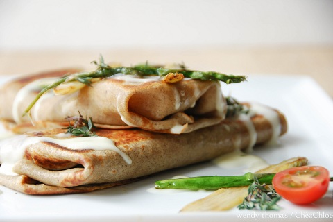 Buckwheat Crepes with Asparagus, Mushrooms, Gouda, Proscuitto & Mornay