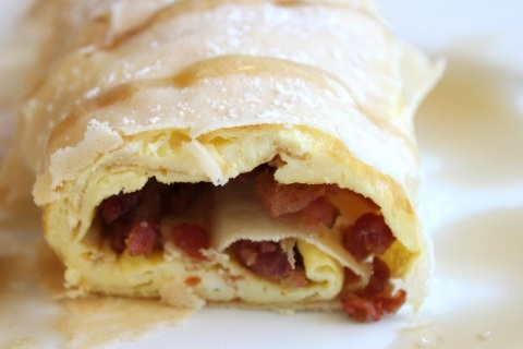 Egg and Bacon Crepes Drizzled in Maple Syrup