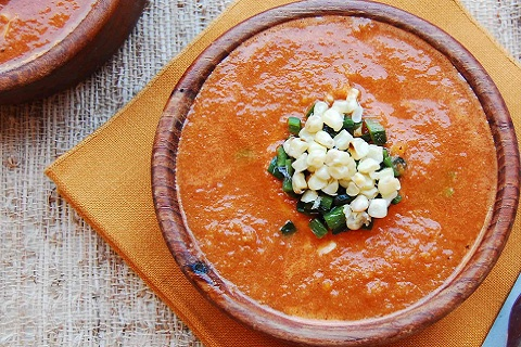 Vegan Tomato Bisque with Grilled Corn and Pasilla Peppers