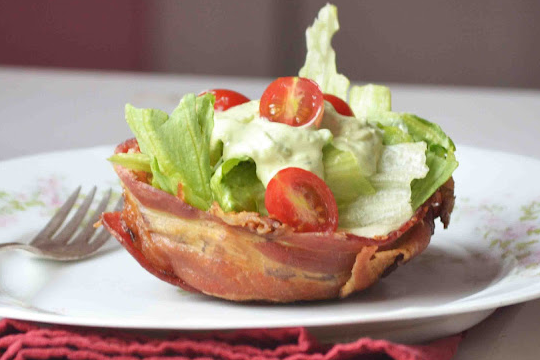 Avocado Ranch BLT Salad In Bacon Cups
