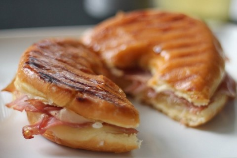 Glazed Donut Sandwich with Prosciutto and Swiss