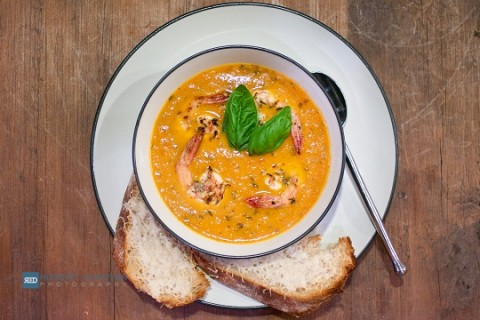 Heirloom Tomato Soup with Grilled Lemon Garlic Shrimp