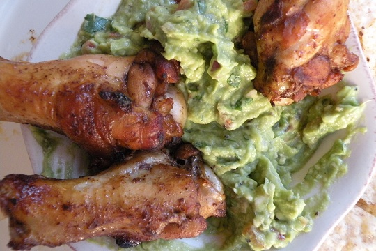Hot Fajita Chicken Wings with Guacamole