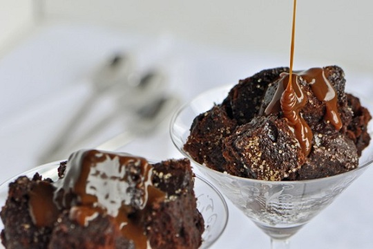 Chocolate Cake Bread Pudding with Dulce de Leche Bourbon Sauce
