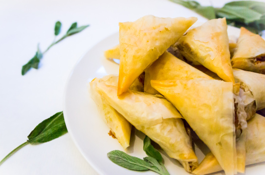 Butternut Squash, Sage, and Chevre Phyllo Triangles
