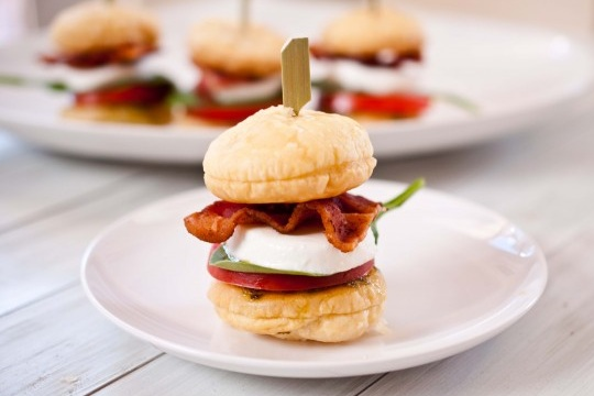 BLT Caprese Sliders With Puff Pastry Buns from Domestic Fits