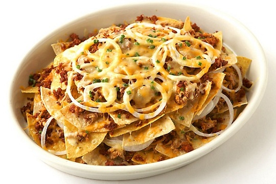Chorizo, Bean and Cheese Nachos from Food Network