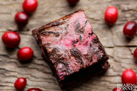 Cranberry Marshmallow Swirl Brownies from Beard and Bonnet