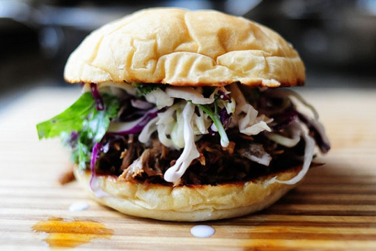 Cola-Marinated Pork and Cilantro-Jalapeno Slaw Sandwiches